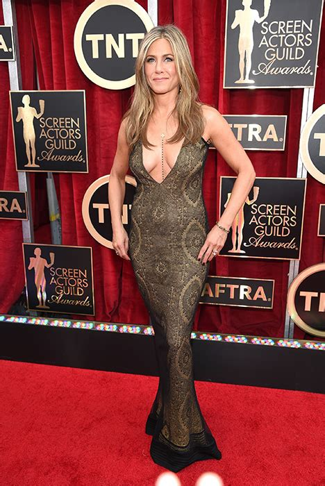 Screen Actors Guild Awards Best Dressed Carpet Fashion Awards by Aniston Channels Grecian Goddess In Gold Galliano