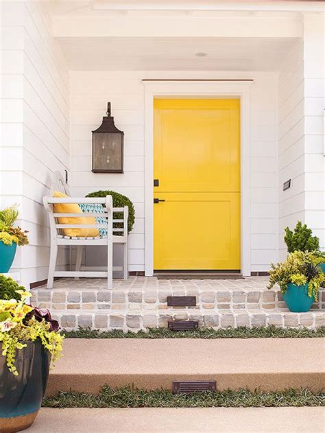 Yellow Front Door Paint Colors Drab To Dramatic 9 Ways To Rescue A Ranch Home Paint Colors Home Improvements And Door Paint