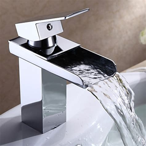 Chrome Finish Modern Single Handle Waterfall Bathroom Sink