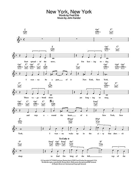 song nyc new york new york chords by frank sinatra melody line