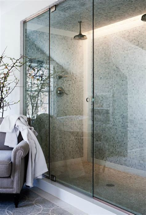 Glass Tile Backsplash Ideas For Kitchens double shower heads transitional bathroom sage design