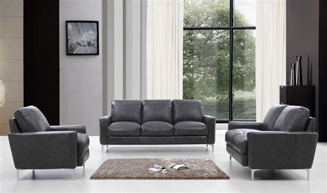 divani casa empire modern dark grey leather sofa set