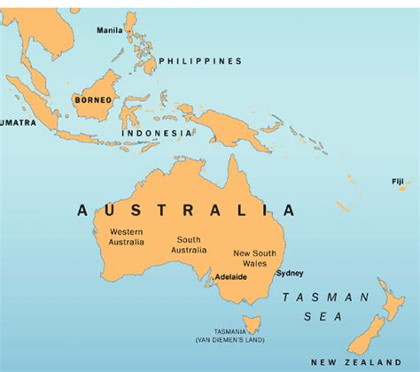 australia in world map australia map in world