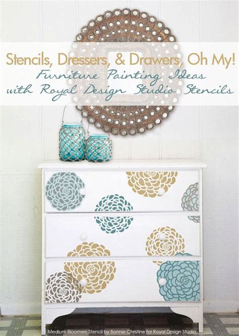 Stencils For Furniture Painting Stencil Pattern Ideas For Dressers And Drawers Royal