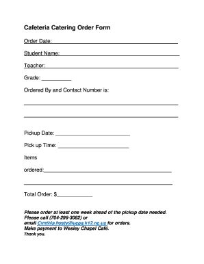 Catering Order Forms Templates Fillable Printable Sles For Pdf Word Pdffiller Catering Order Form Template Word