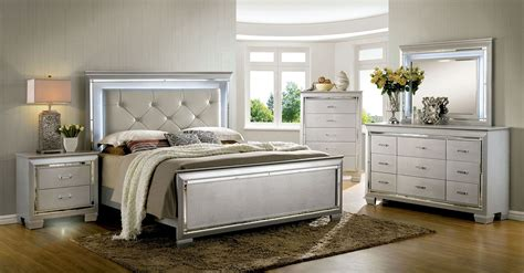 bellanova silver upholstered panel bedroom set cm7979sv q