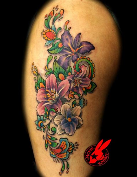 star city tattoo beautiful floral by jackie rabbit city