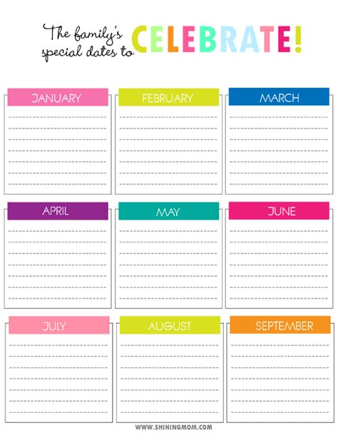 birthday reminder calendar template free printable birthday reminder calendar template