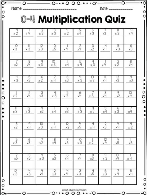 Multiplication Timed Test Printable