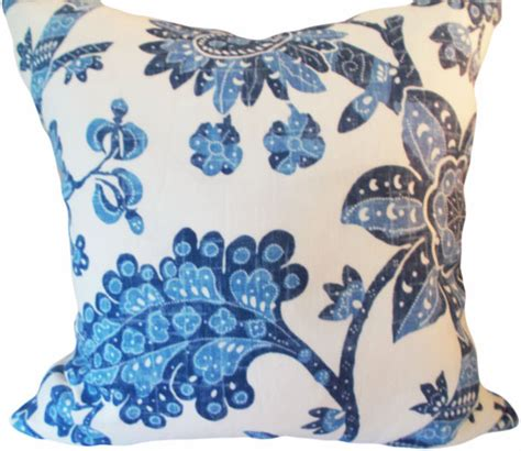 blue floral vintage waverly decorative pillow cover throw