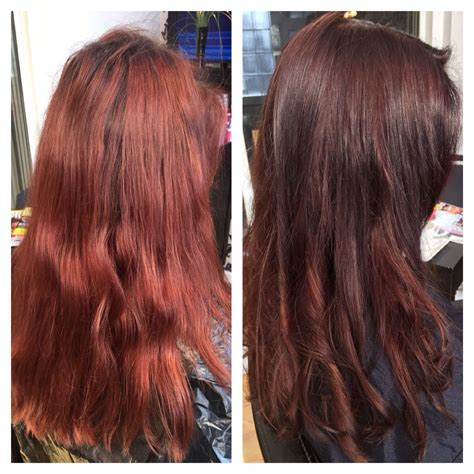 faded colour hairstyles before faded out red after lovely chocolate colour