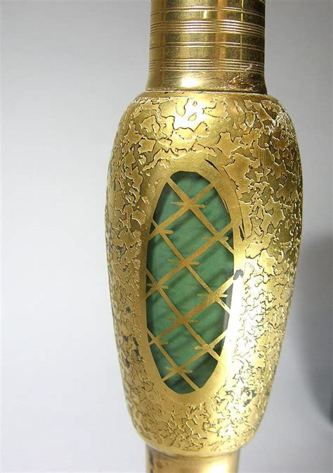 tall volupte perfume dauber bottle green  gold