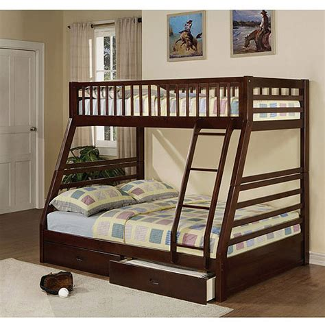 bunk bed walmart jason twin over full bunk bed espresso walmart com
