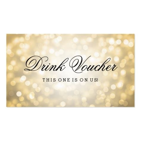 drink token template wedding drink voucher gold glitter lights business card