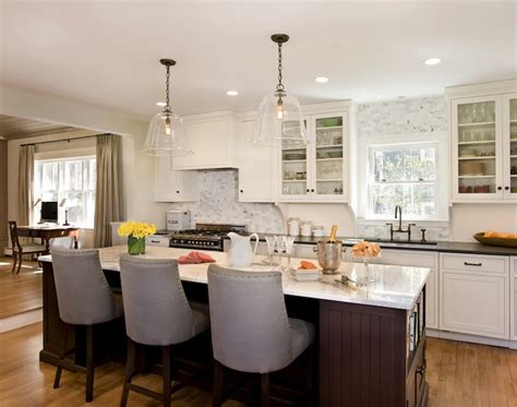 Glass Pendant Lighting For Kitchen Islands Kitchen Island With Beadoard Trim Transitional Kitchen Venegas And Company