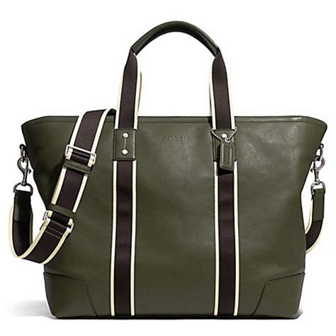 Coach Htons Weekend Patchwork Tote by Heritage Web Leather Weekend Tote F71169 Silver Olive