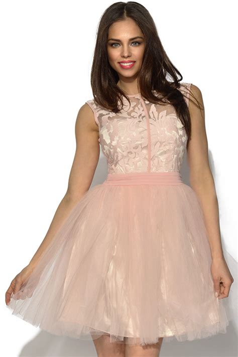 Floral Dress Santai Pink vestry pink floral lace prom dress in baby pink