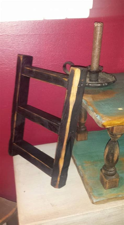 ladder home decor small rustic primitive distressed black ladder home decor