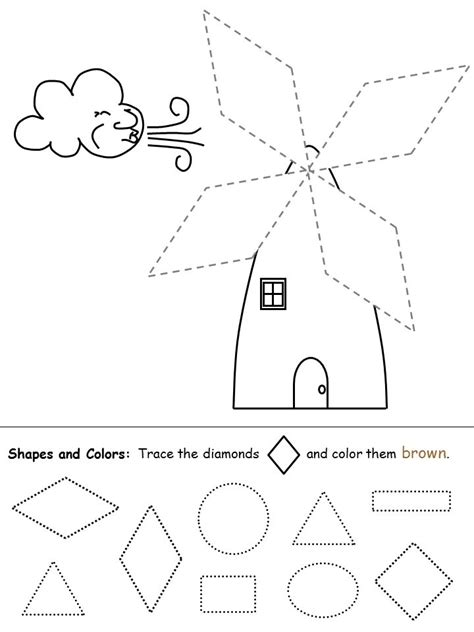 diamond coloring pages preschool shapes recognition practice worksheet diamond trazos