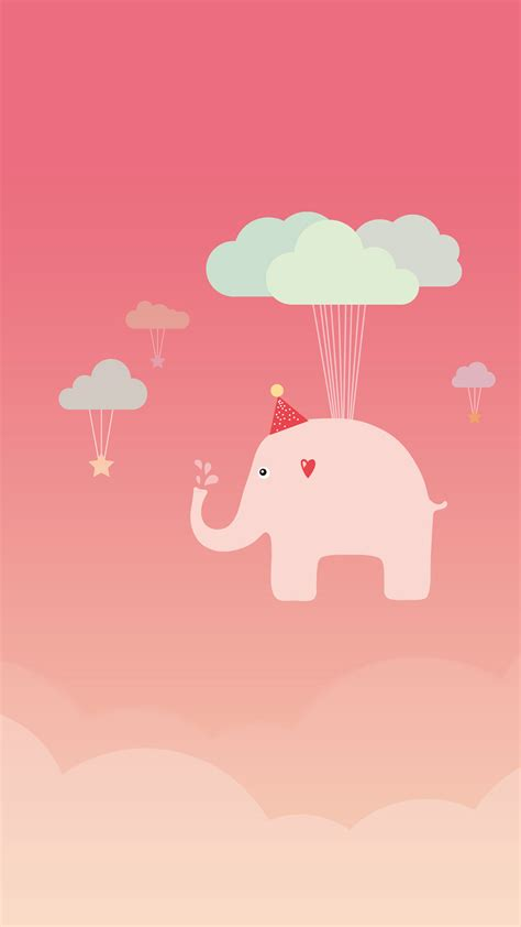 wallpaper iphone 6 elephant cute vector elephant floating with cloud wallpaper 1080x1920