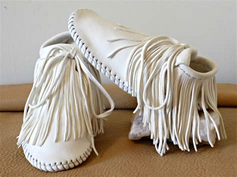 Handmade Moccasins For - white fringe moccasins handmade wedding mocs custom