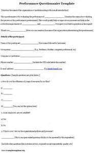 performance survey template questionnaire template for performance exle of