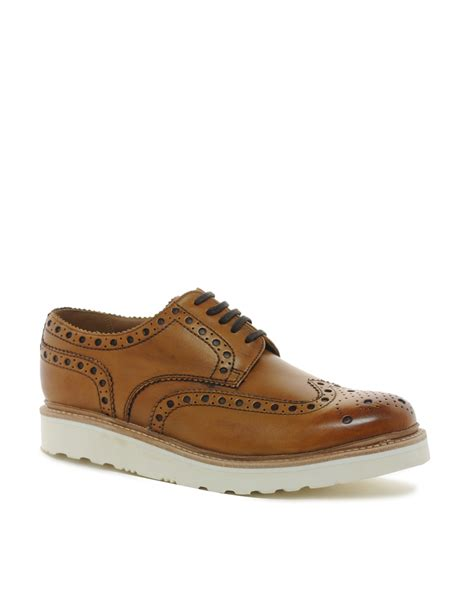 grenson archie vibram sole brogue shoes in brown for