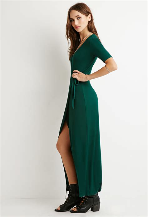 Maxi Dress Forever 8 Kode 7080 forever 21 wrap maxi dress in green lyst