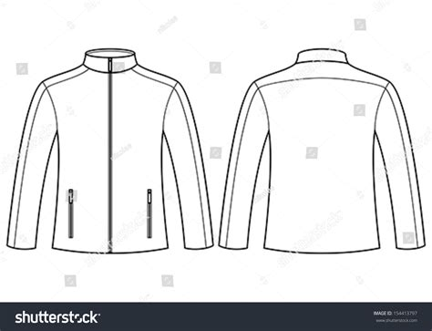 jacket template front back stock vector 154413797