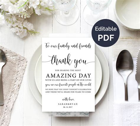Wedding Thank You Notes by Wedding Thank You Note Template Wedding Table Thank You