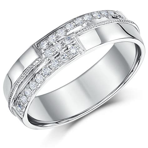 6mm mens 9 carat white gold diamond set wedding ring band 9ct white gold at elma uk jewellery