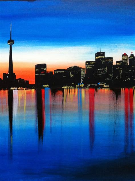 paint nite toronto quot home quot artist belford toronto skyline painting