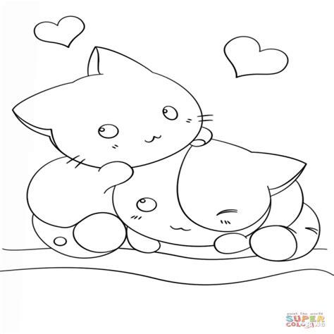 Dibujos Kawaii Para Colorear Online | dibujo de gatitos kawaii para colorear dibujos para