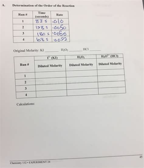 tutorial questions on chemical kinetics solved chemical kinetics experiment 24 equipment and chem