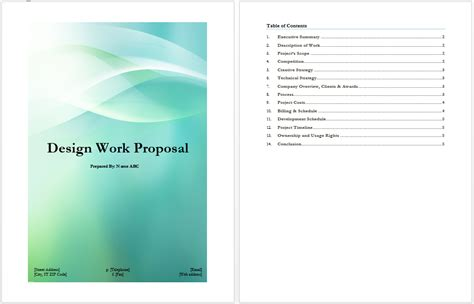 Design Work Proposal | design work proposal template microsoft word templates