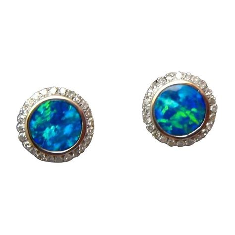 blue opal earrings blue opal earrings 14k white gold studs