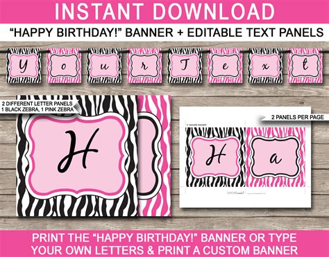 printable zebra banner pink zebra birthday banner template birthday banner