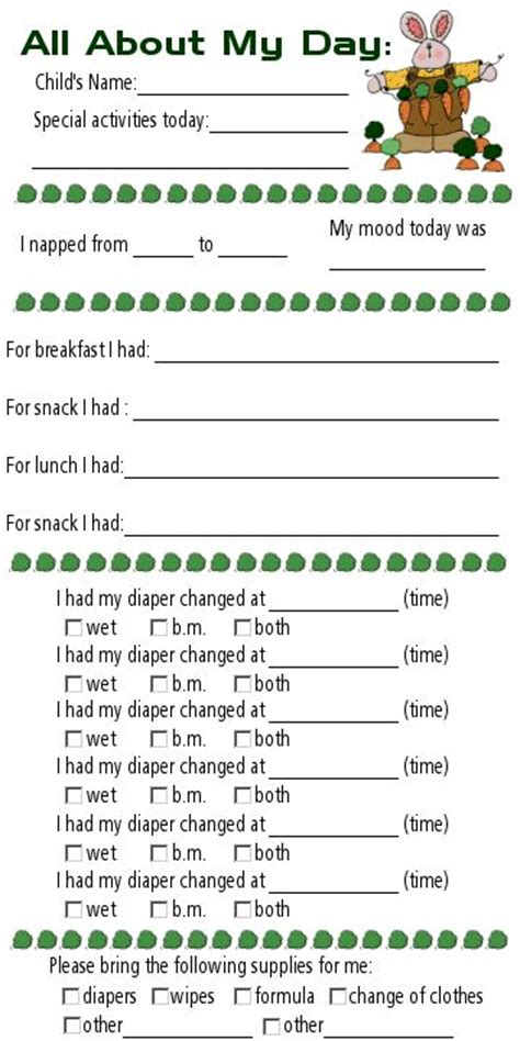 child care daily report template toddlers daycares and day care on