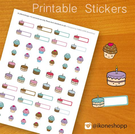 printable stickers for birthday birthday planner stickers cupcake printable stickers for