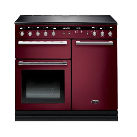 kitchen master induction cooker rangemaster hlt100eicy c hi lite 100 induction range cooker in cranberry with chrome trim