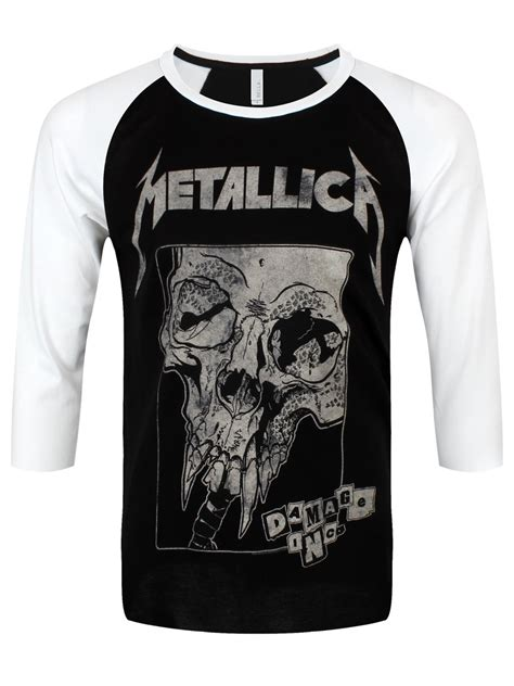 Metallica T Shirt White metallica damaged s black white baseball shirt buy