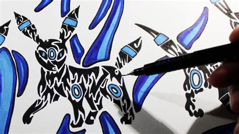 Tribal Style design drawing umbreon tribal style