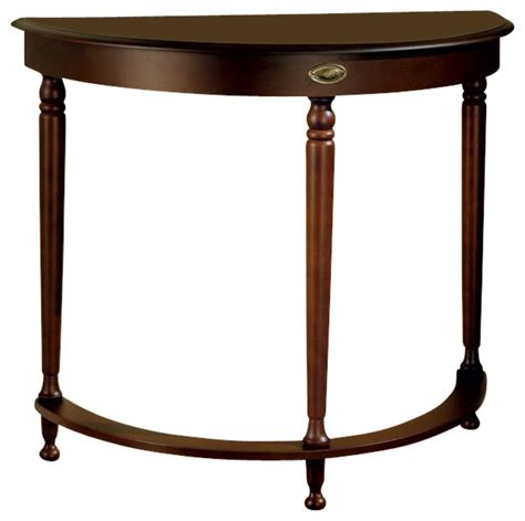 hall accent table monarch specialties crescent hall console table in walnut