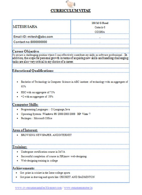 resume format for computer science engineering students 10000 cv and resume sles with free