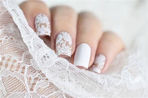 braut nägel white lace bridal wedding nail art design idea nail art
