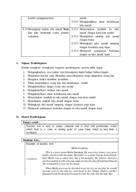 membuat narrative text rpp bahasa inggris smk kelas x teks narative