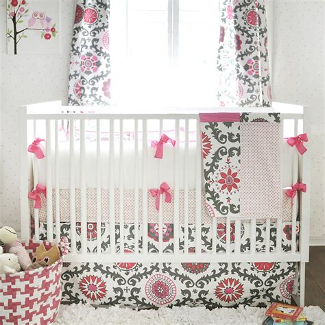 baby bedding boutique ragamuffin in pink pink and gray baby bedding set jack