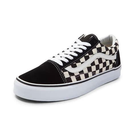 black vans shoes vans skool chex skate shoe black 497097