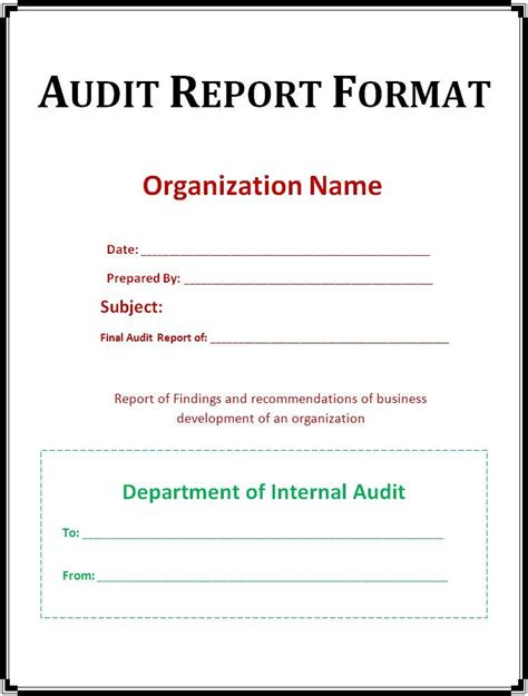accounting report template audit report template free word templates