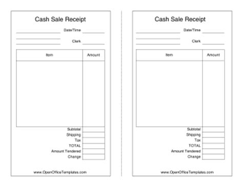 open office template receipt sales receipt openoffice template
